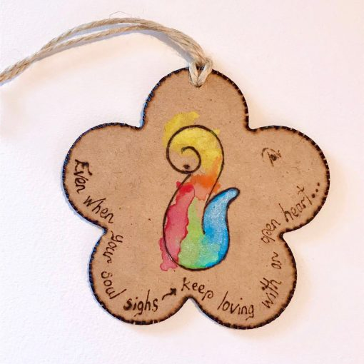 Open Heart ~ pyrography on wood