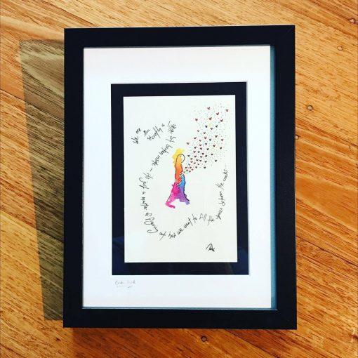 Broken Inside ~ framed original postcard