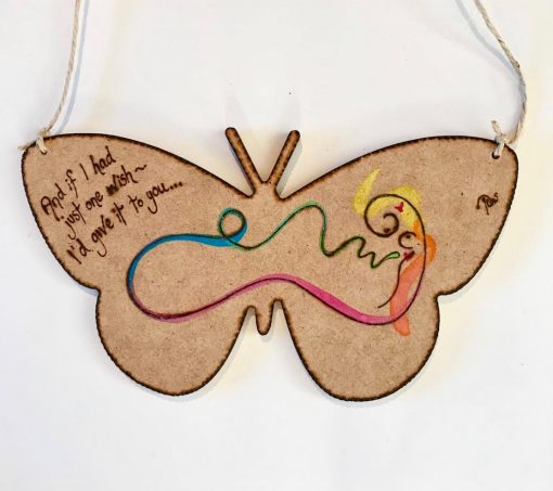 One Wish ~ ink & pyrography on wood